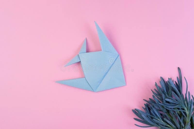 O origâmi ilumina - peixes azuis no fundo minimalistic cor-de-rosa fotos de stock
