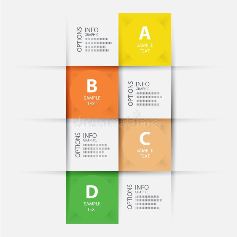 O origâmi moderno da etapa do negócio denomina a bandeira das opções, molde da Web ilustração stock