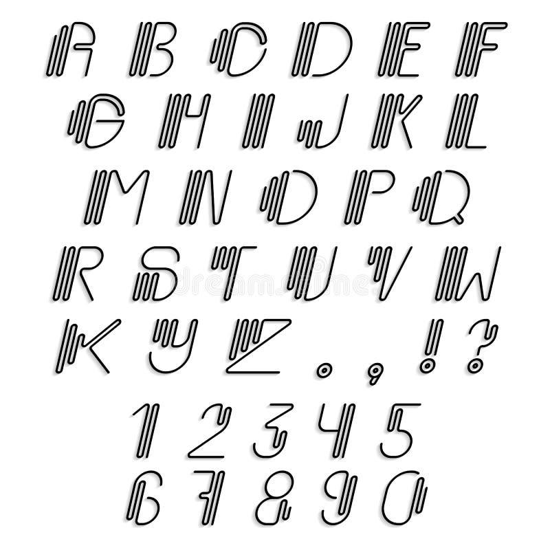 O original curvou o grupo do alfabeto latin ilustração stock