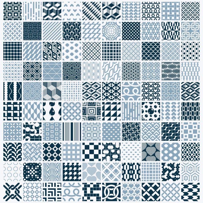 O ornamental gráfico telha a coleção, grupo de vetor monocromático com referência a ilustração stock