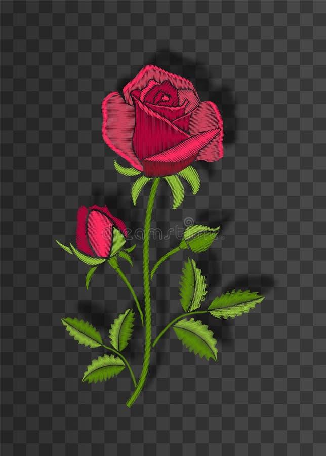 O ornamento costurado floral com ponto aumentou Flor do bordado no fundo transparente com sombra ilustração do vetor