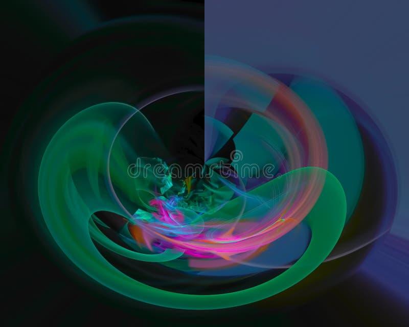 O ornamento mágico da curva do fractal digital abstrato ondula criativo, molde artístico, elegância, dinâmica imagens de stock
