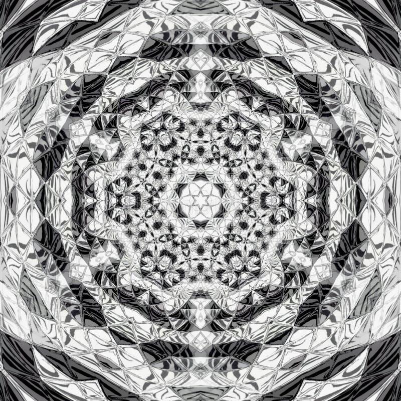 O ornamento monocromático do triângulo gerencie a mandala poligonal ilustração royalty free