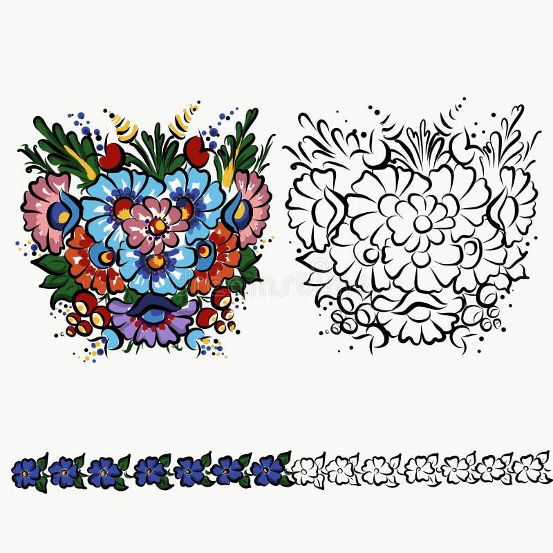 O ornamento popular polonês, projeto da decoração no copo, veste flores do design floral ilustração do vetor