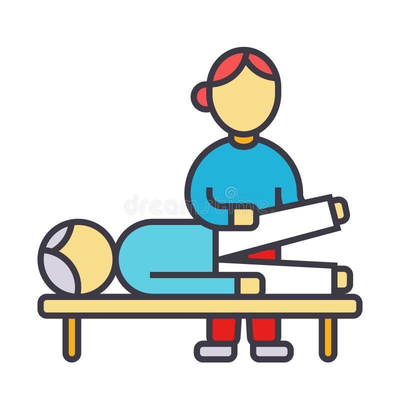 O Osteopathy, terapia manual, faz massagens a linha ilustração lisa, ícone do vetor do conceito ilustração do vetor