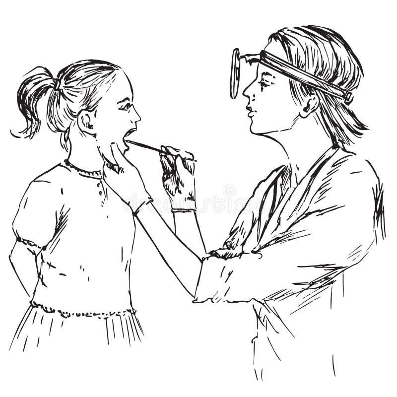O otolaryngologist examina as amídalas da menina, de uma garganta garatuja tirada mão, esboço ilustração do vetor