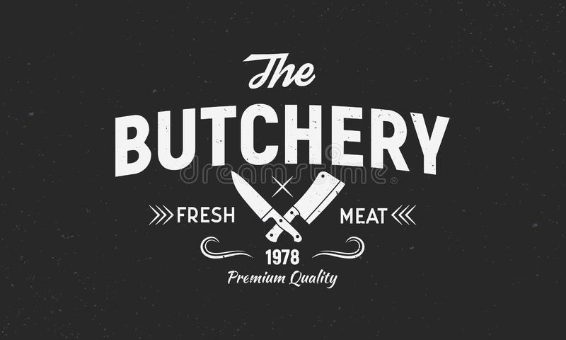 O a?ougue - conceito do logotipo do vintage Logotipo da loja de carne do a?ougue com facas da carne Molde do logotipo do a?ougue  ilustração do vetor