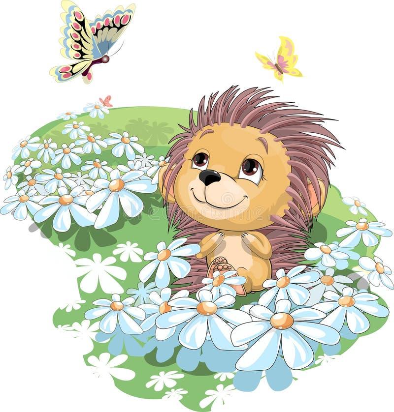 O ouriço e a borboleta ilustração stock