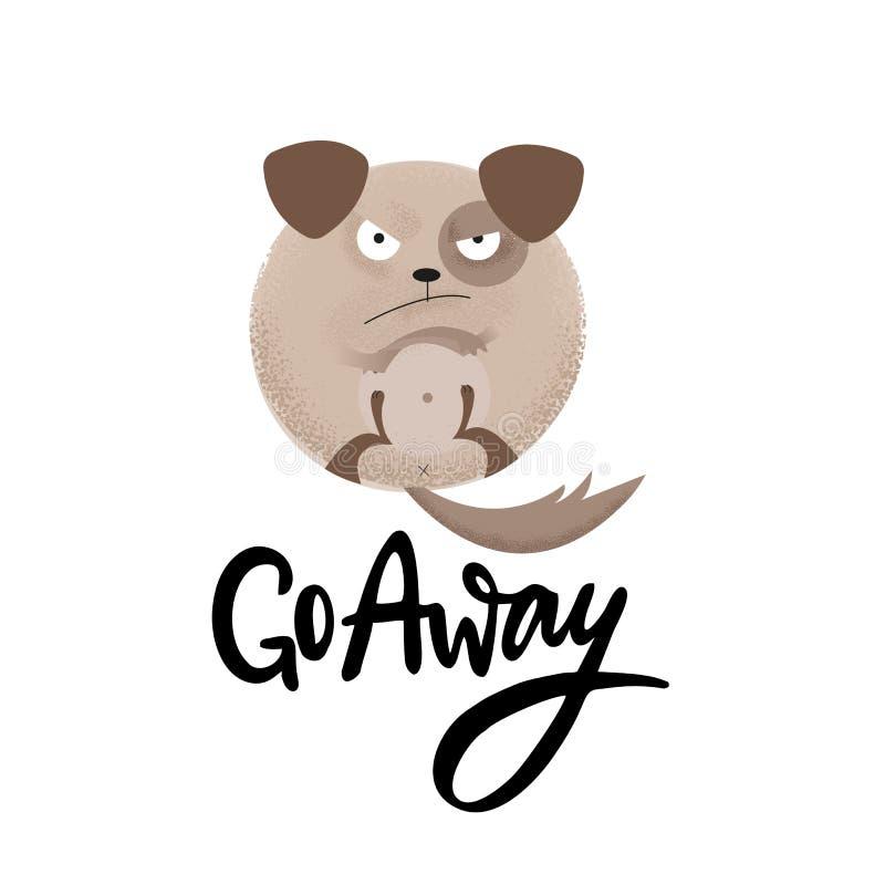 O ouriço engraçado mau encontra-se na parte traseira com rotulação de citações tiradas mão parte Ilustração lisa moderna com text ilustração royalty free
