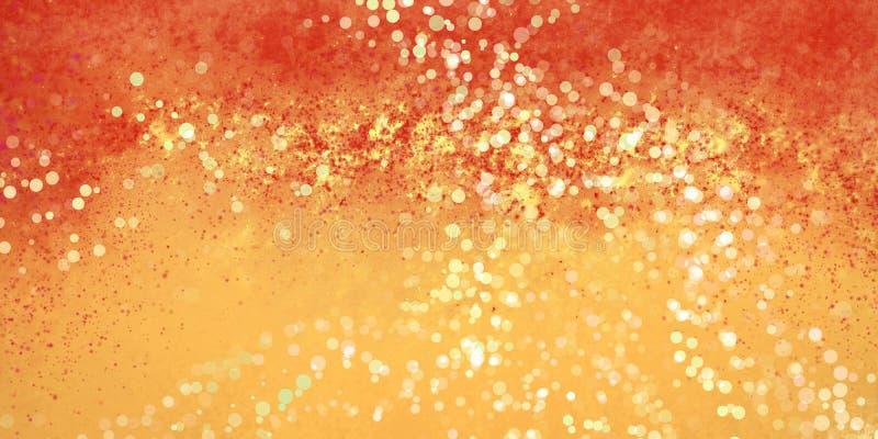 O ouro amarelo abstrato e o projeto vermelho do fundo com respingo e bokeh da pintura iluminam a textura ilustração do vetor