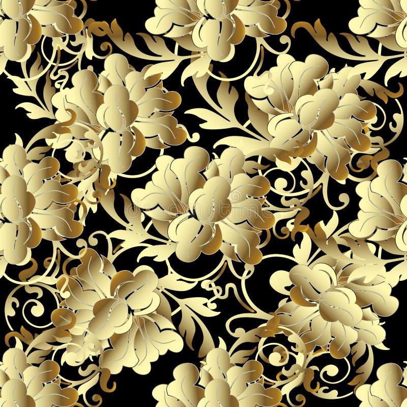 O ouro barroco 3d floresce o teste padrão sem emenda ilustração stock