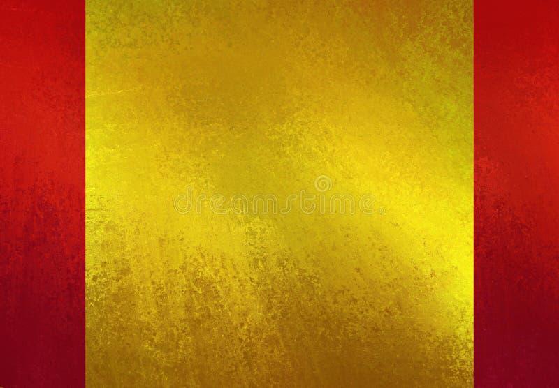 O ouro brilhante textured o papel na disposição vermelha do fundo ilustração stock