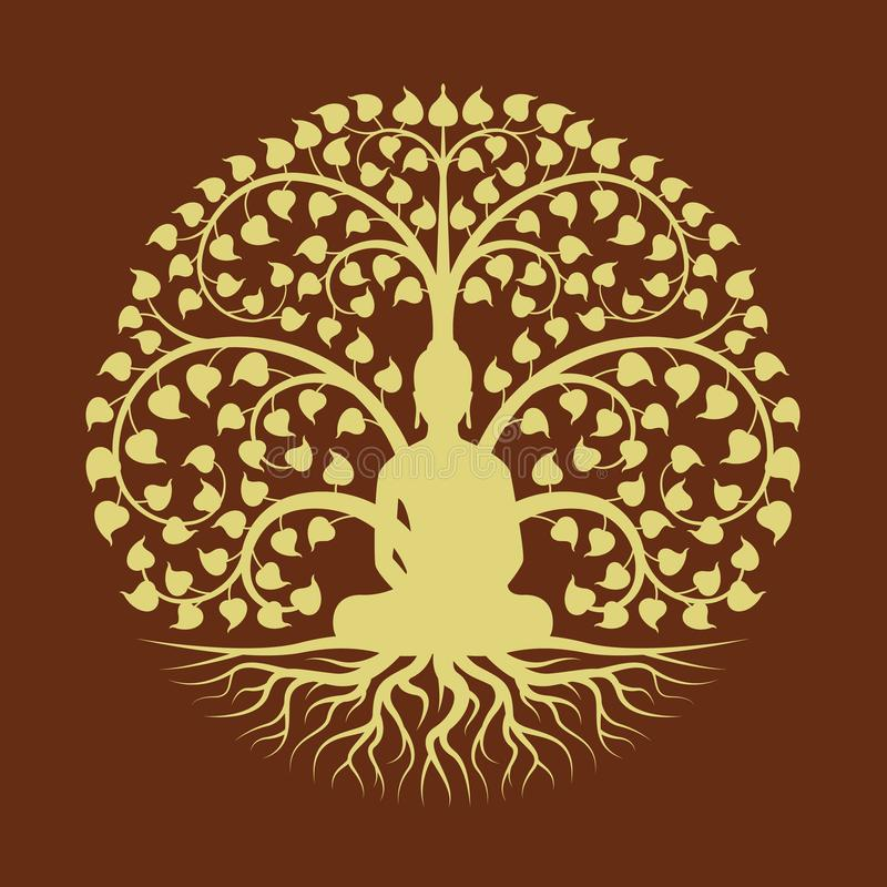 O ouro buddha medita sob o projeto do vetor do estilo do sinal do círculo da árvore de Bodhi ilustração royalty free
