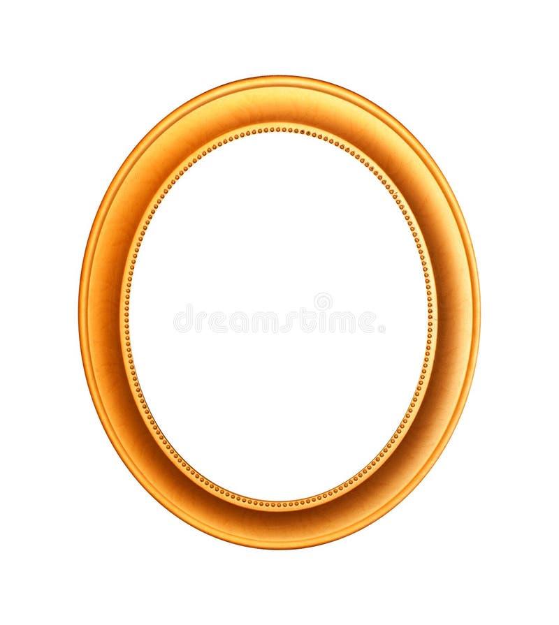 O ouro chapeou a moldura para retrato de madeira no branco com o trajeto de grampeamento foto de stock royalty free