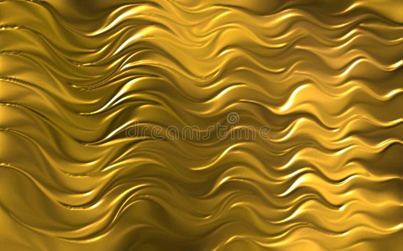 O ouro coloriu a ilustração do vetor do papel de parede do fundo da onda 3d ilustração do vetor