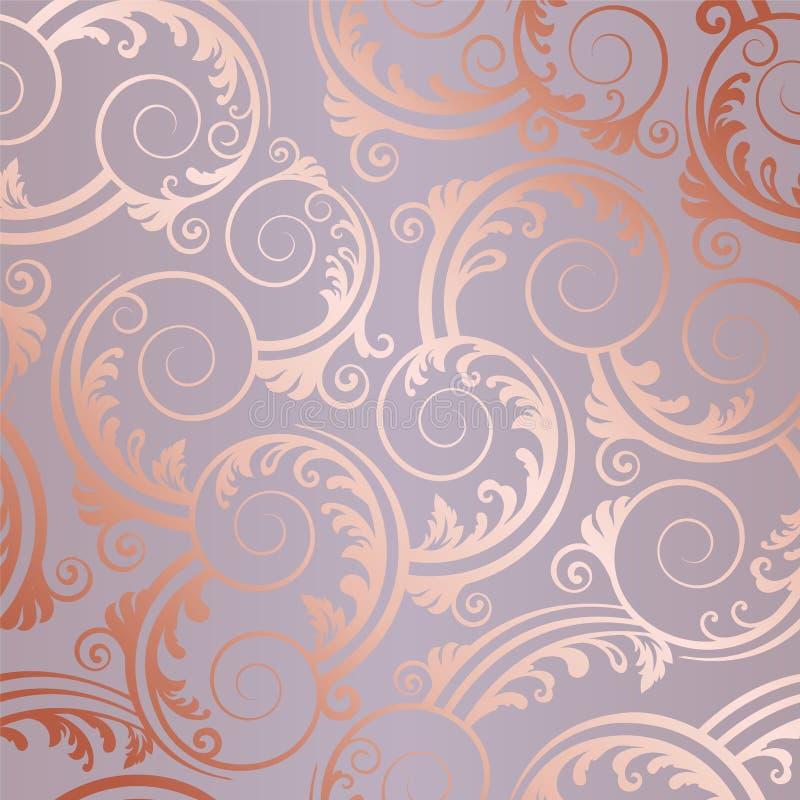 O ouro cor-de-rosa sem emenda roda e sae do teste padrão imagem de stock royalty free