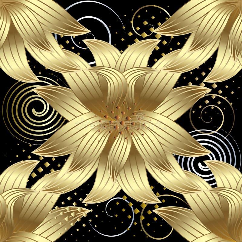 O ouro 3d floresce o teste padrão sem emenda do vetor Geometr abstrato moderno ilustração do vetor