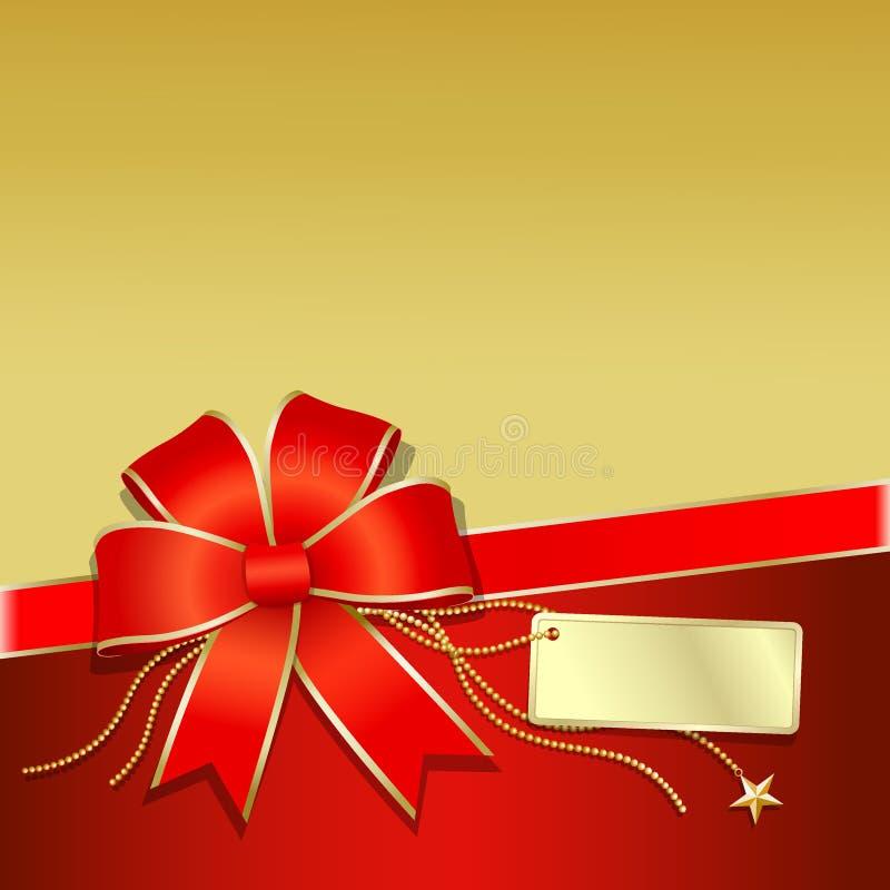O ouro da caixa de presente e a fita vermelha vector a ilustração ilustração royalty free