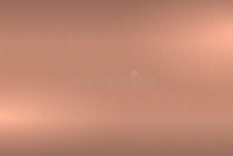 O ouro de Rosa escovou a textura metálica Fundo lustrado brilhante do metal ilustração do vetor