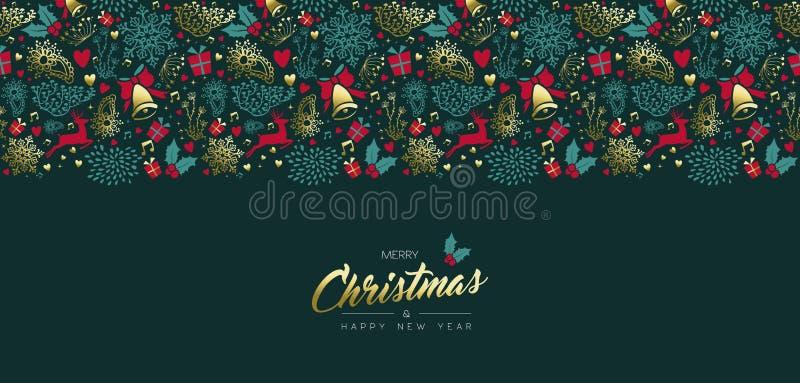O ouro do vintage do Natal e do ano novo ornament o cartão ilustração stock