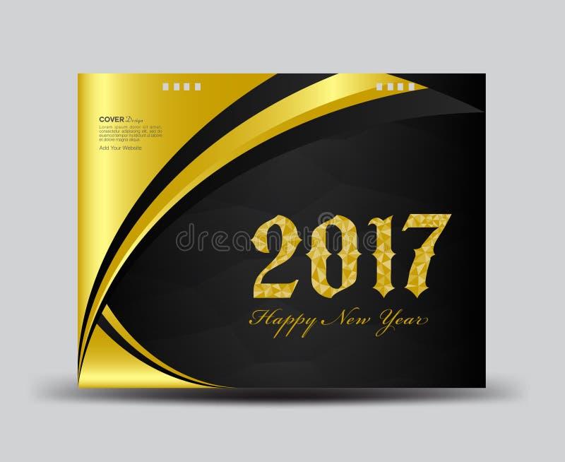O ouro e o preto cobrem o calendário de mesa 2017, ano novo feliz 2017 ilustração royalty free