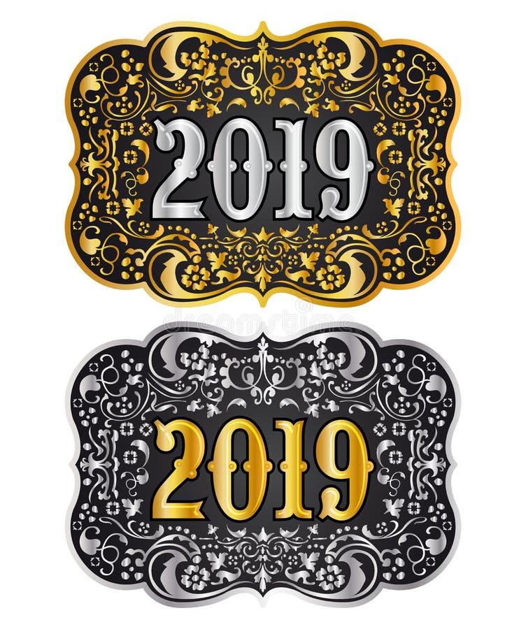 O ouro e a prata da fivela de cinto do vaqueiro do ano 2019 novo projetam, o crachá 2019 ocidental ilustração royalty free