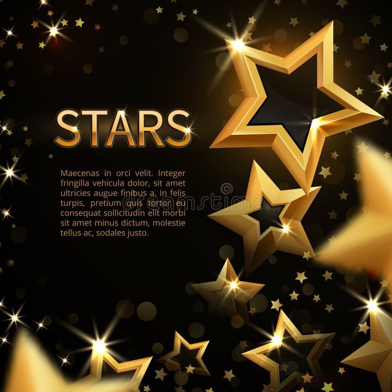 O ouro efervescente brilhante stars no fundo mágico do vetor do feriado abstrato preto ilustração do vetor