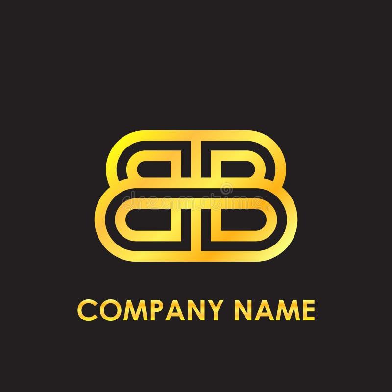 O ouro elegante do BB da letra inicial refletiu o molde lowercase do logotipo no fundo preto ilustração royalty free