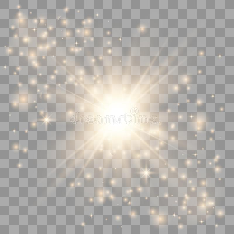 O ouro incandesce efeito da luz ilustração stock