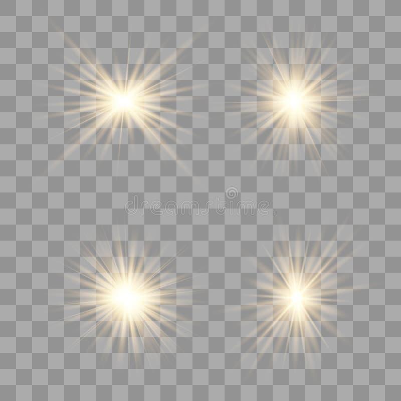 O ouro incandesce efeito da luz ilustração do vetor