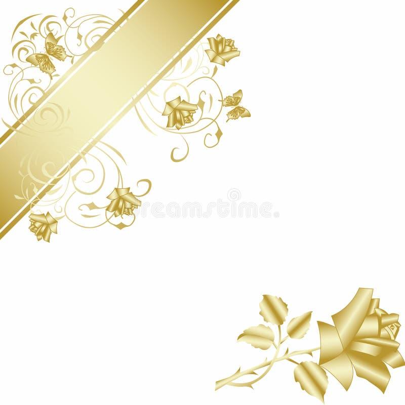 O ouro levantou-se no fundo branco ilustração royalty free