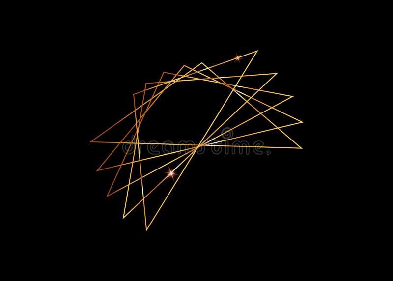 O ouro Logo Design, este logotipo é apropriado para a empresa, tecnologias do mundo, meios e agências de publicidade globais Ícon ilustração royalty free