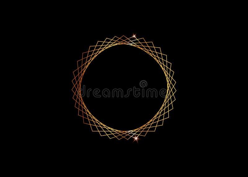 O ouro Logo Design, este logotipo é apropriado para a empresa, tecnologias do mundo, meios e agências de publicidade globais Ícon ilustração stock