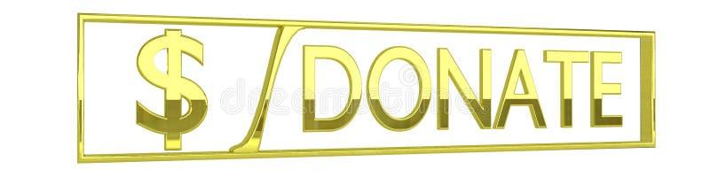 O ouro lustroso doa o ícone - isolado no branco - 3D rende ilustração do vetor