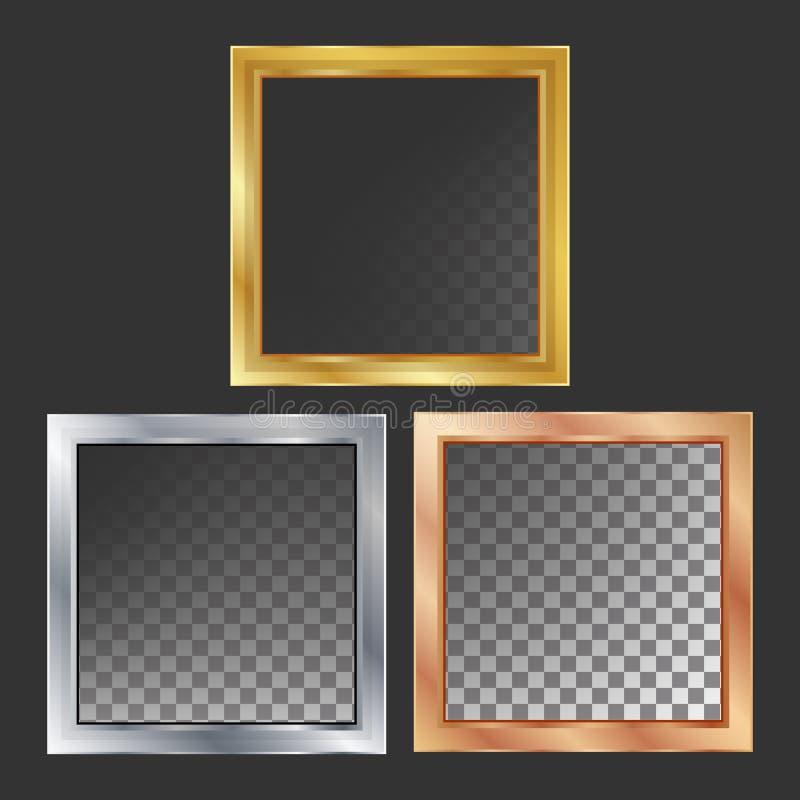 O ouro, prata, bronze, o metal de cobre molda o vetor quadrado Ilustração metálica realística das placas ilustração royalty free