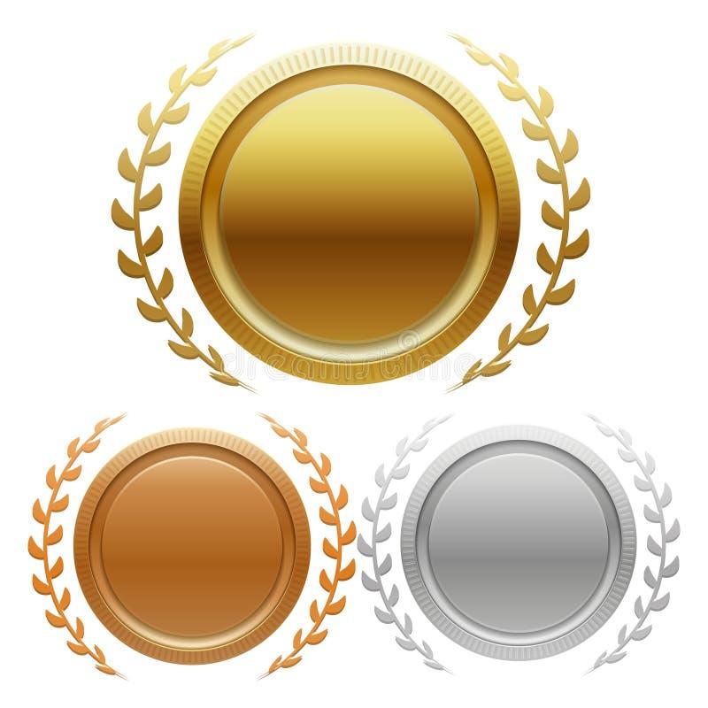 O ouro, a prata e o bronze do campeão concedem medalhas ilustração do vetor