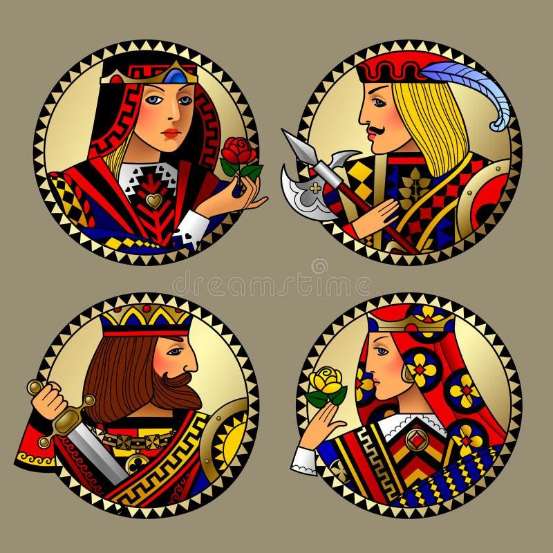 O ouro redondo dá forma com as caras de caráteres dos cartões de jogo ilustração stock