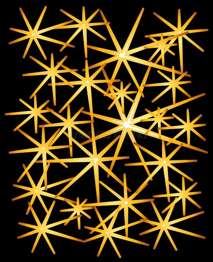 O ouro Sparkles estrelas no preto ilustração stock