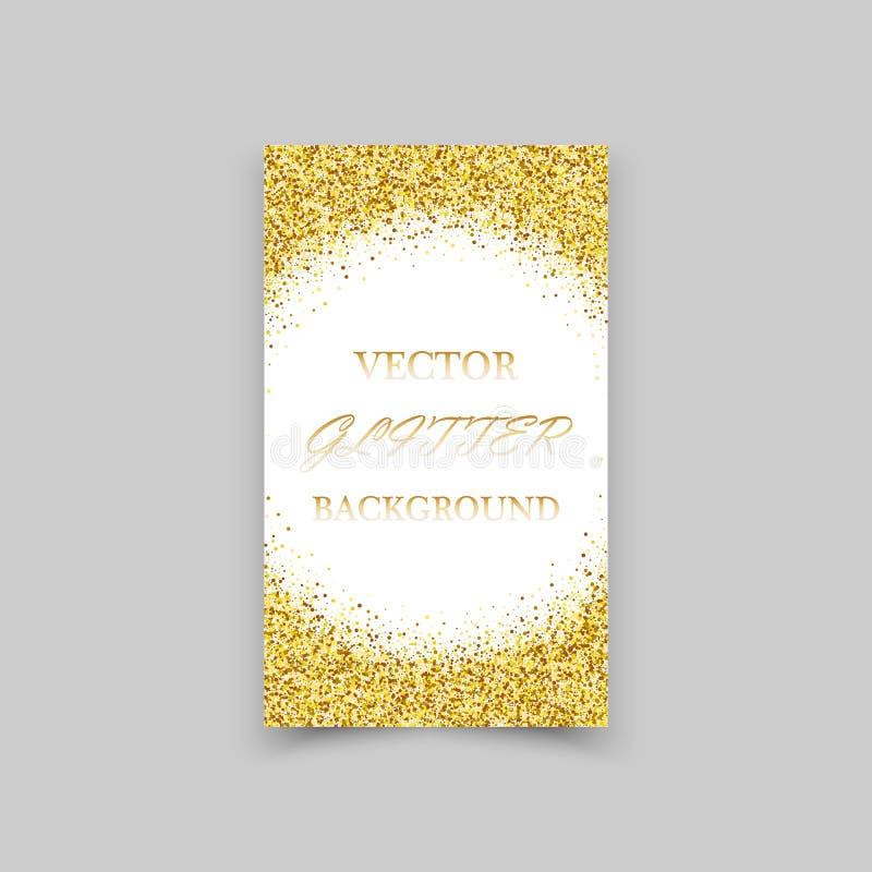 O ouro sparkles no fundo branco Fundo do brilho do ouro ilustração stock