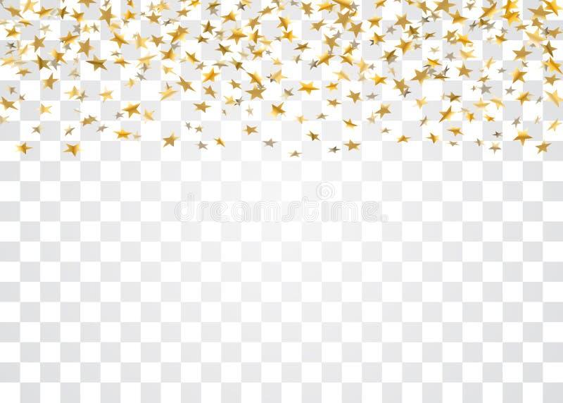 O ouro stars confetes de queda no fundo transparente branco Partido festivo do projeto dourado, celebração do aniversário ilustração stock