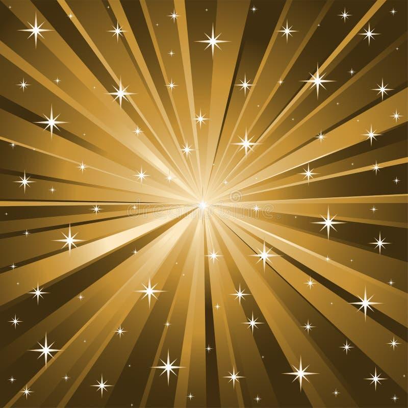 O ouro stars o fundo do vetor ilustração royalty free