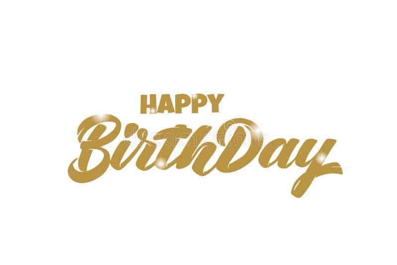 O ouro tirado mão do vetor que rotula o feliz aniversario com 3D sparkles ícone para o cartão, cartaz, bandeira, logotipo, ícone, ilustração royalty free