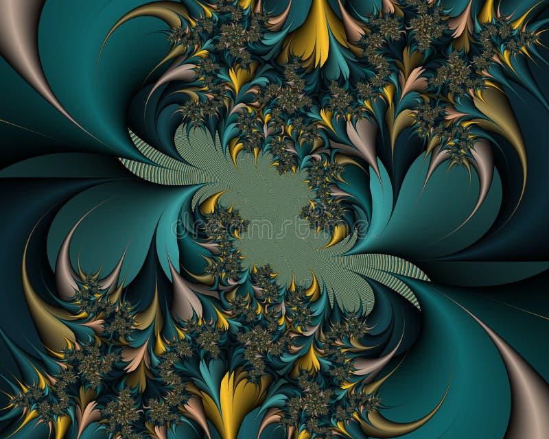 O ouro verde sae do fractal hipnótico, formas espirais floridos abstratas, fundo ilustração do vetor