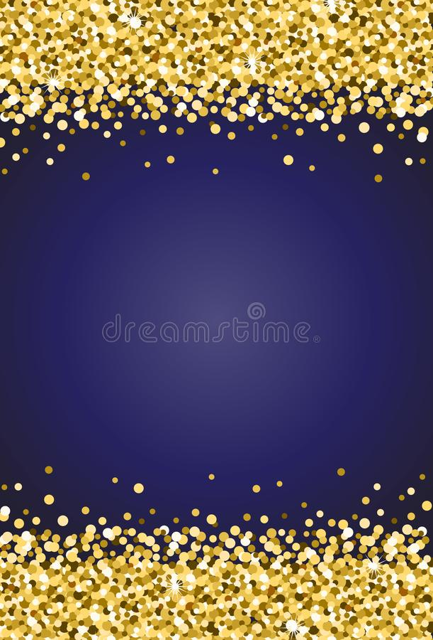 O ouro vertical vislumbra a faísca no vetor 2 do fundo dos azuis marinhos ilustração stock