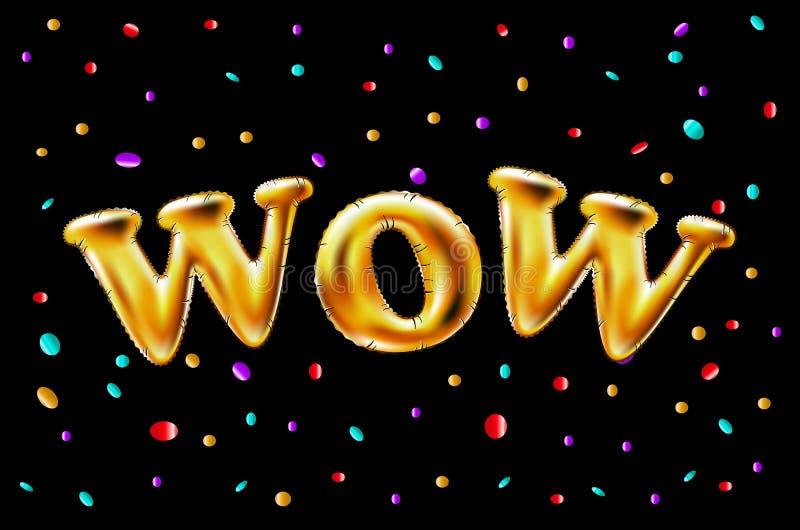 O ouro wow balloons o fundo para bandeiras da Web, encabeçamento, loja Logotipo, logotype, sinal, símbolo Balão dourado do texto  ilustração do vetor