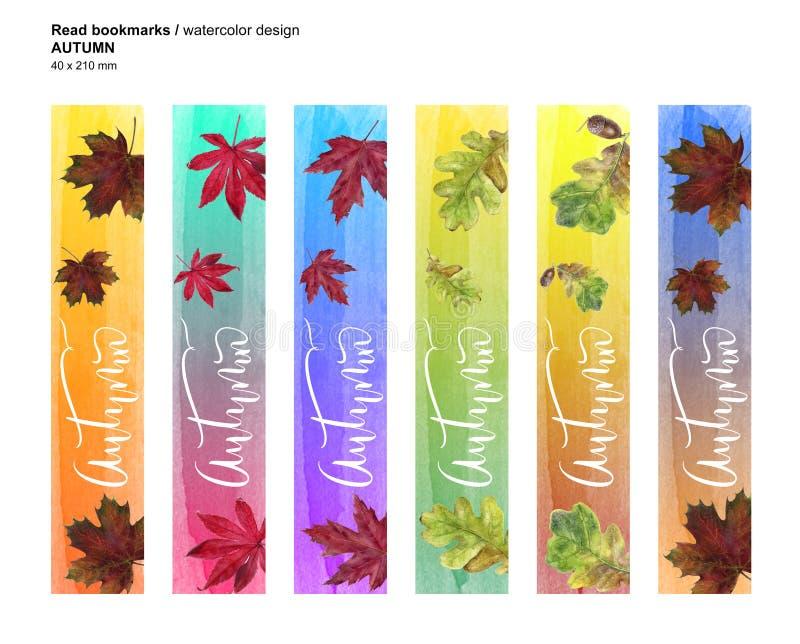 O outono ajustou marcador imprimíveis Ilustração da textura da folha da aquarela foto de stock royalty free