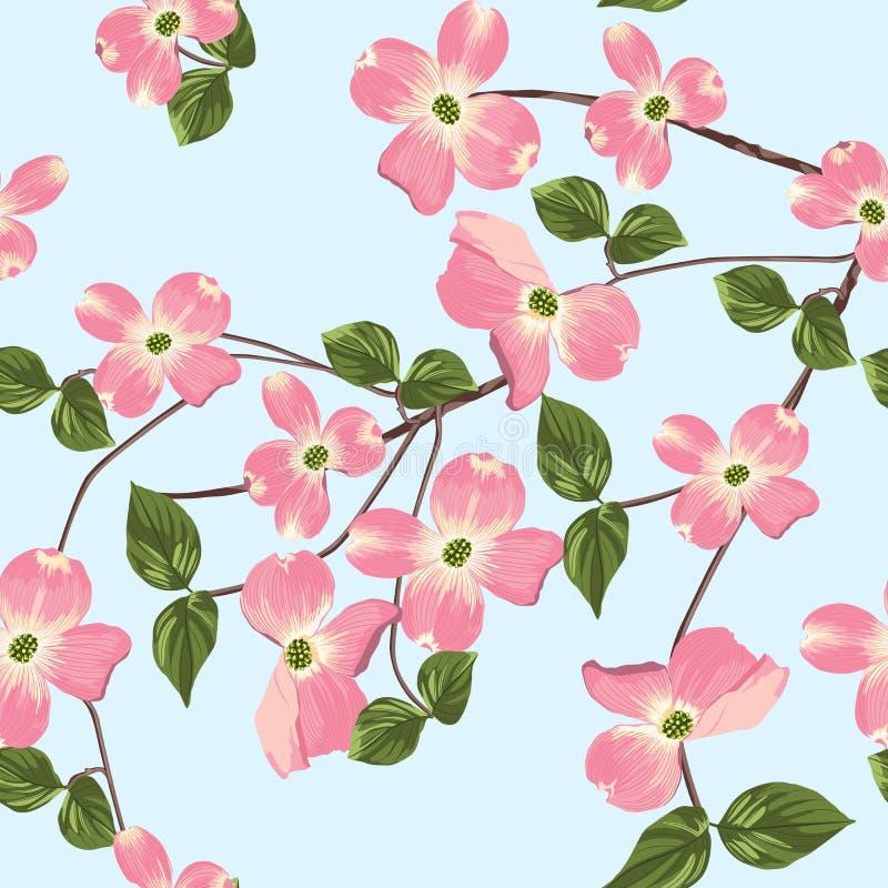 O outono da mola floresce o teste padrão sem emenda Fundo floral do estilo da aquarela ilustração royalty free