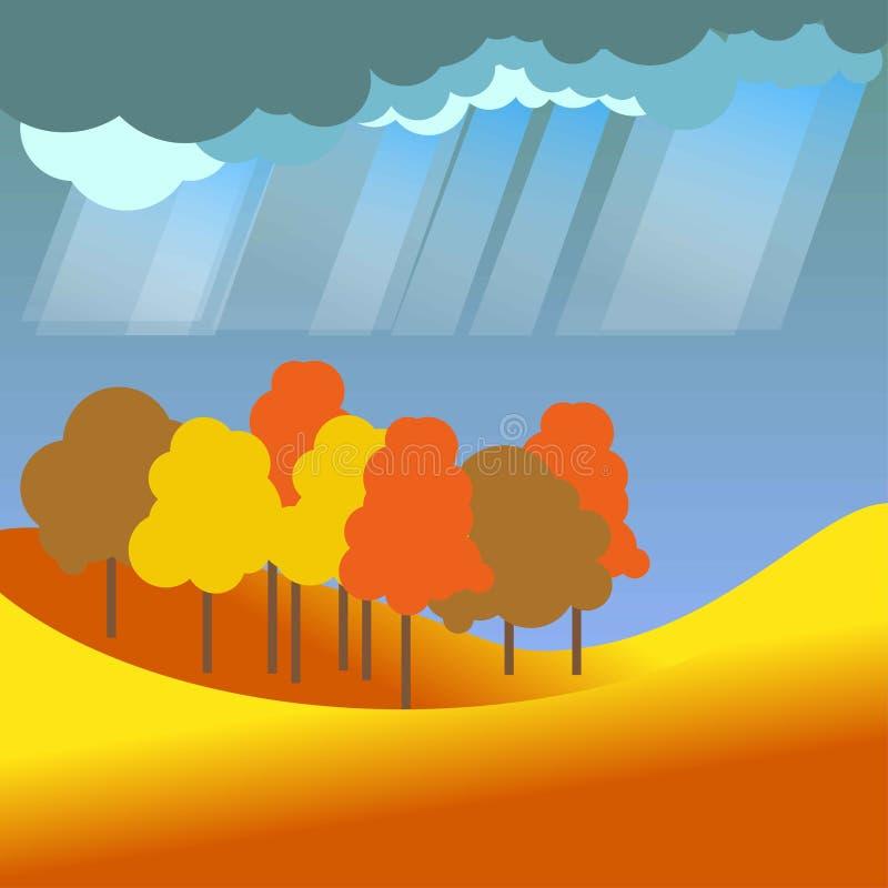 O outono ou cai cenário liso da floresta tropical do vetor da paisagem da natureza de quatro estações ilustração do vetor
