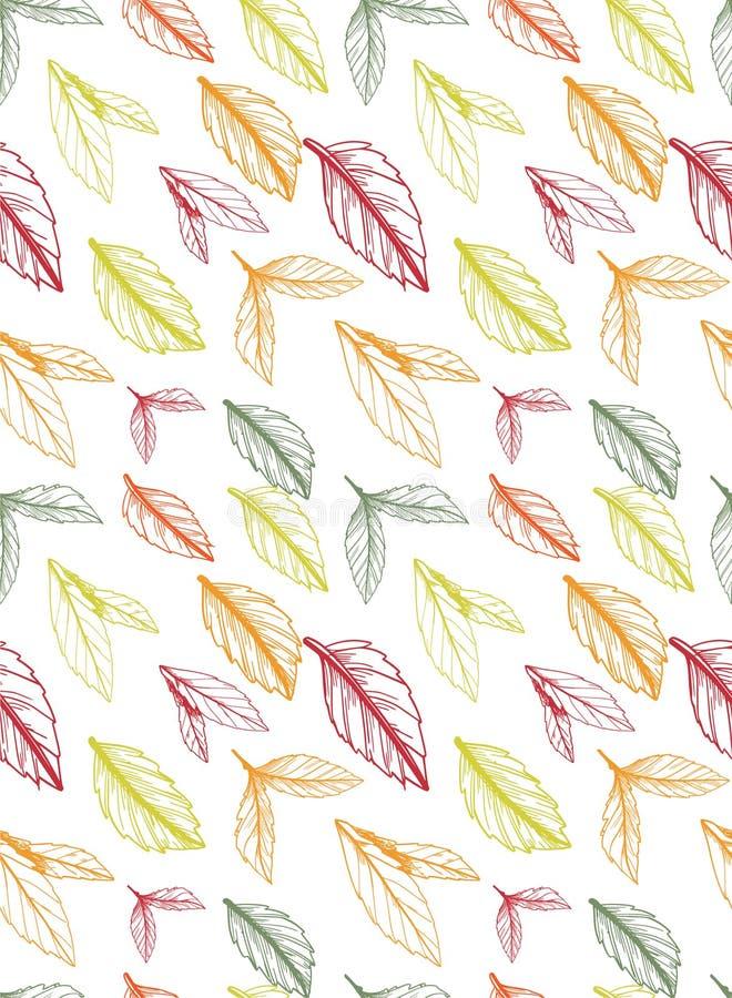 O outono/teste padrão sem emenda da queda criado fora da mão esboçada sae ilustração royalty free