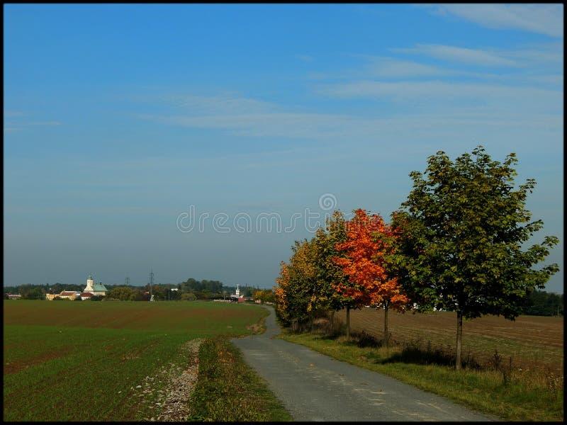 O outono vem na vila imagens de stock royalty free